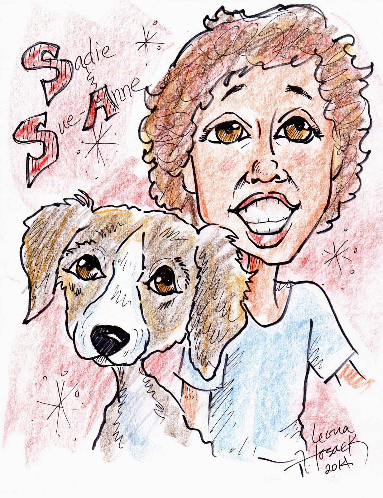 Pet and their owners caricature by Leona Hosack