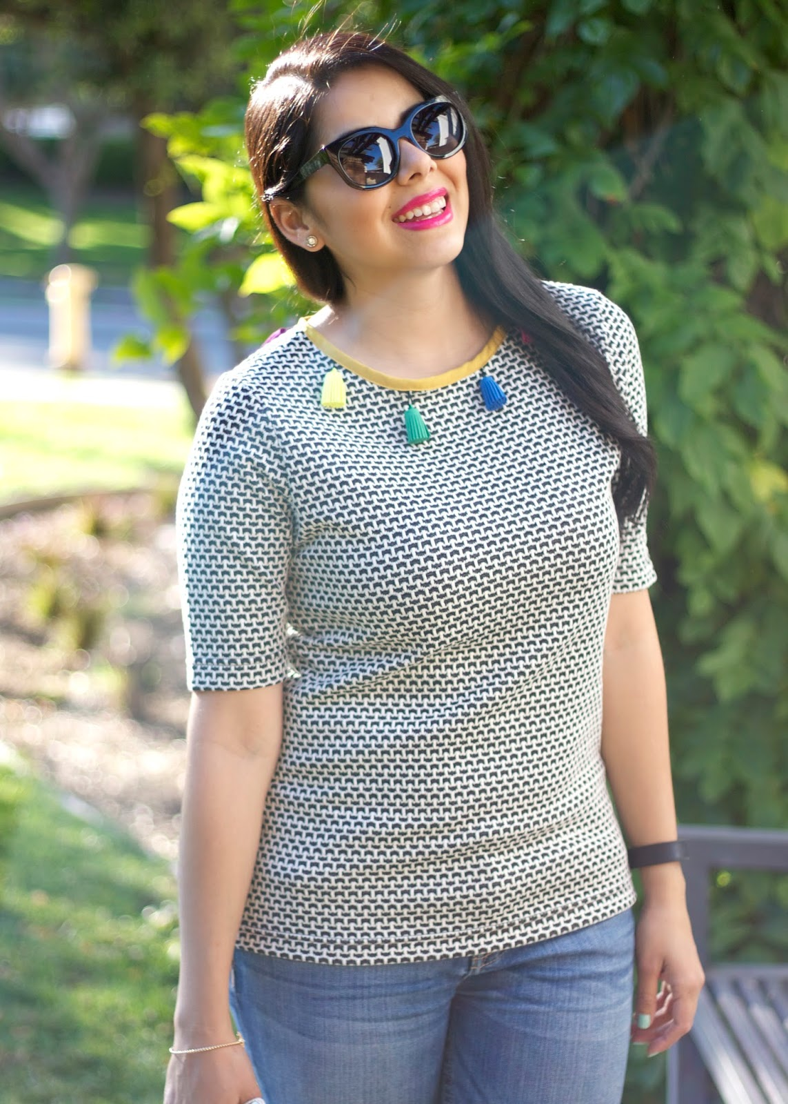 Cute tassel top, shabby apple collaboration, silvano sunglasses, Pink lips