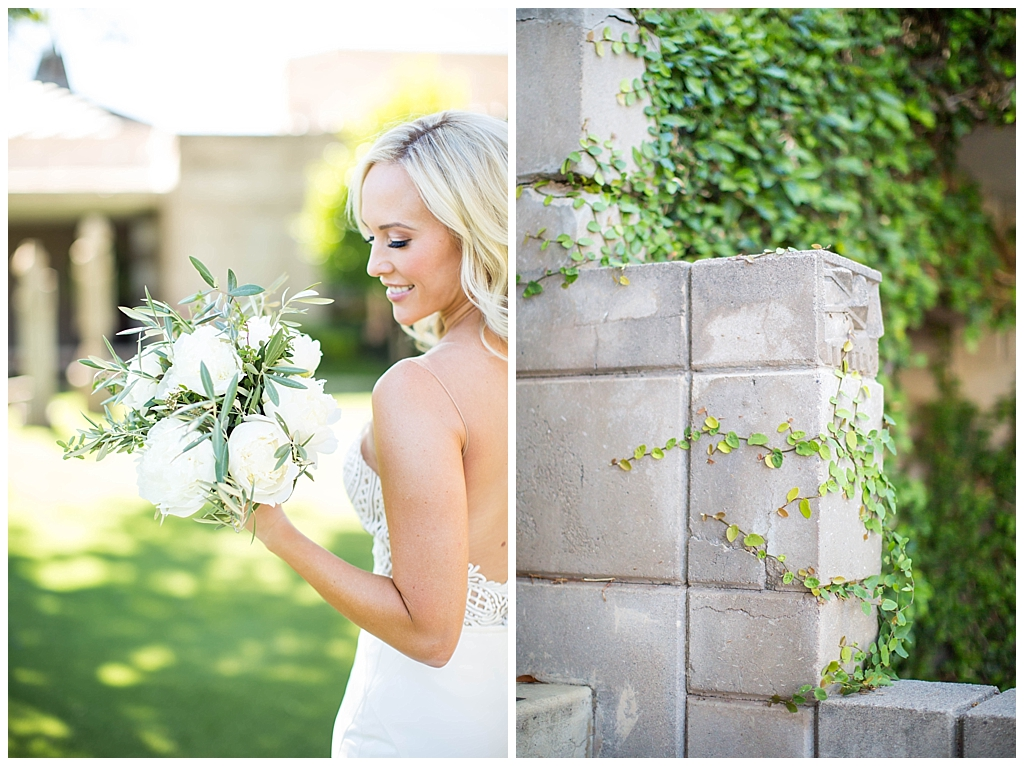 bride with white floral and greenery bouquet
