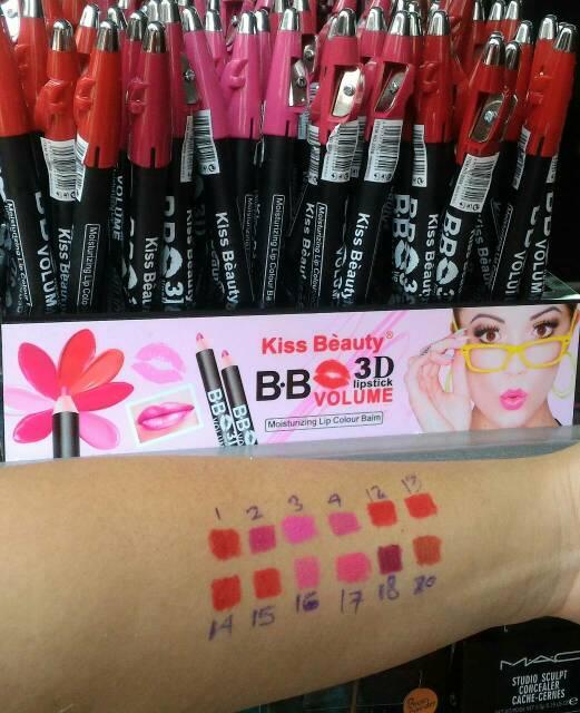 Lipstick KISS BEAUTY B.B VOLUME 3D MATTE Pensil + Serutan