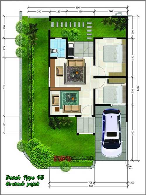 ide denah rumah minimalis type 45 pojok