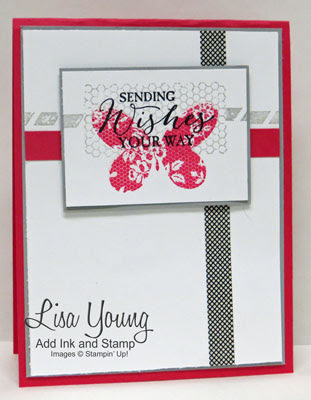 Stampin' Up! Butterfly Basics with Everyday Chic wash tape. Handmade butterfly card by Lisa Young, Add Ink and Stamp