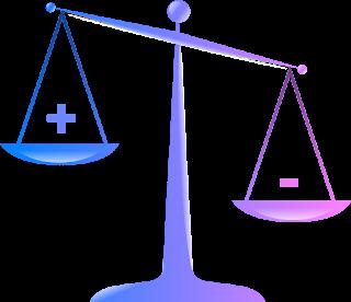 Balanza en tonos azul y violeta con símbolos positivo y negativo donde el negativo se muestra más bajo