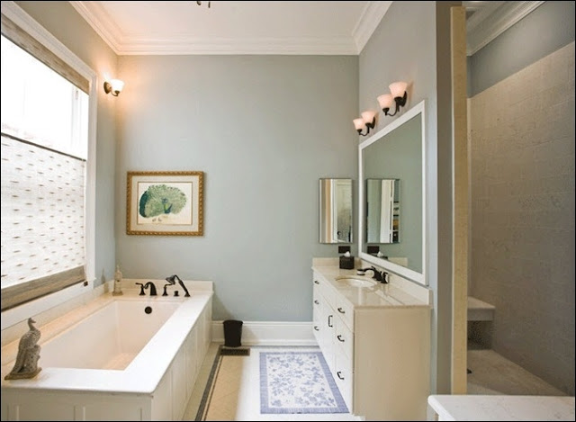 Bathroom with grey walls and white ceiling