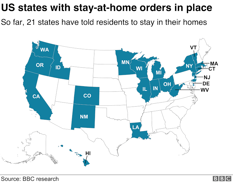 US states with #stayathome orders in place