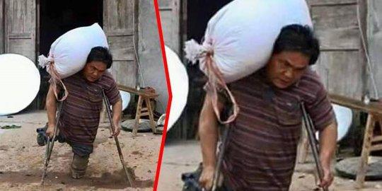 Viral. Fisik Tak Sempurna Seorang Ayah Banting Tulang Demi Hidupi Anak-Anaknya