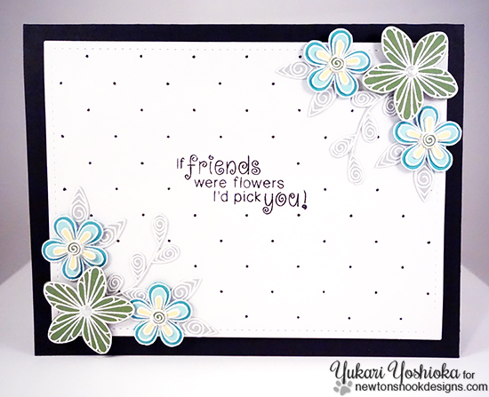 Flower Card by Yukari Yoshioka | Beautiful Blossoms stamp set by Newton's Nook Designs