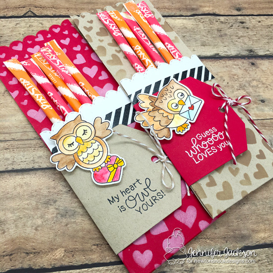 Sweet Treats Blog Hop | Owl Pixy Stix Treat pockets by Jennifer Jackson  | Love Owl-ways Stamp Set, Fancy Edges Tag Die Set and Tumbling Hearts Stencil by Newton's Nook Designs #newtonsnook #handmade #valentine