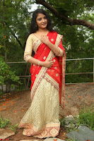 Akshara in Red Saree Golden Choli at LV Movie Makers Production No 1 Movie Opening ~  Exclusive 019.JPG