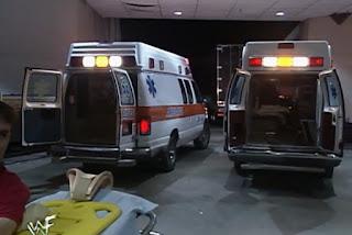 WWE / WWF St. Valentine's Day Massacre 1999 - IHY 27 - Ambulances waiting for The Rock & Mankind