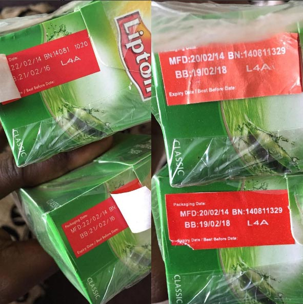 Jeso! Someone masked expiry date on 2014-expired Lipton Tea and resold in the market