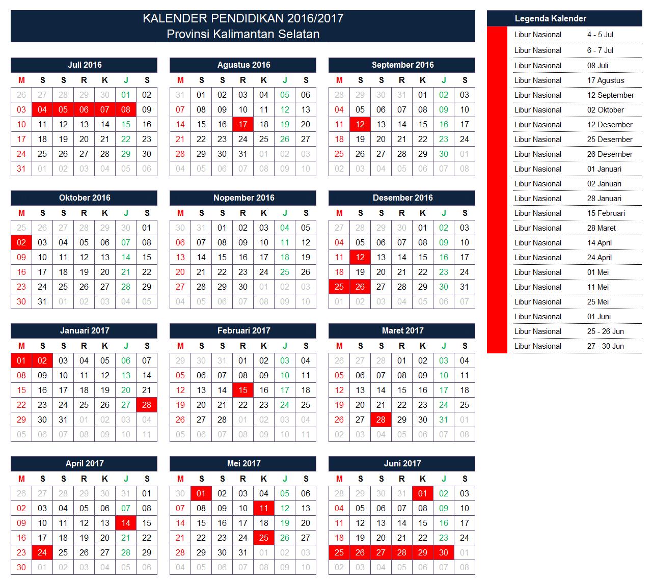 Kalender Pendidikan Provinsi Kalimantan Selatan