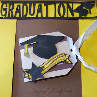 Graduation Gift Card, Ribbon, Brown, Yellow, Black, Cash or Gift Card