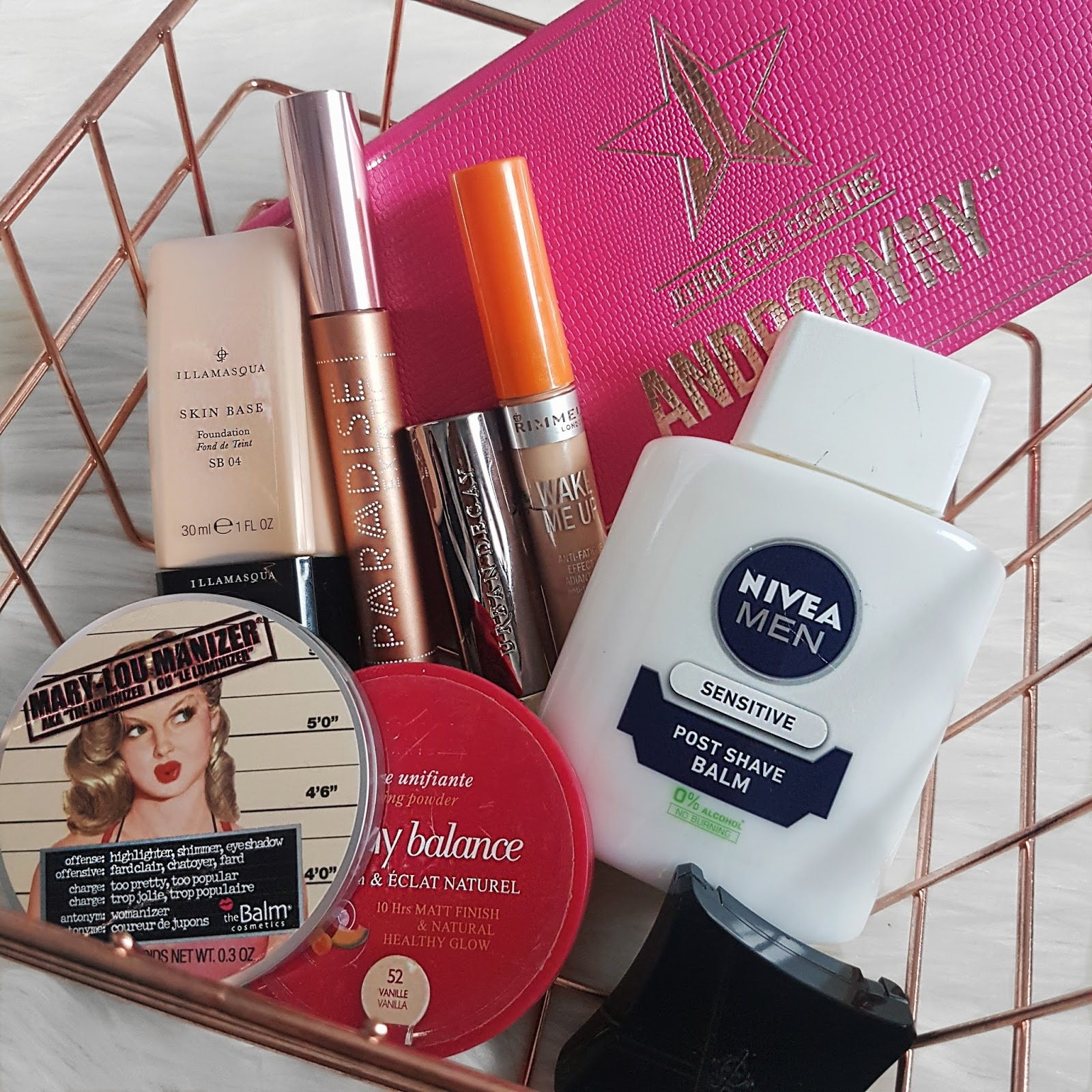 Wire Basket Filled with Various Make Up Products