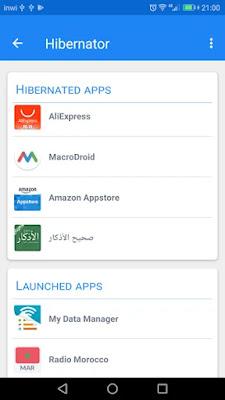 تطبيق Hibernator لإغلاق التطبيقات وحفظ البطارية للاندرويد النسخة الاحترافية
