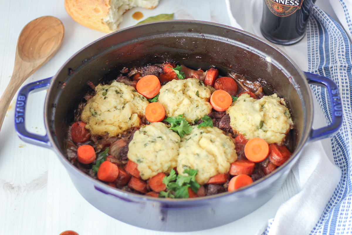 Guinness Beef Stew with Rosemary Biscuits