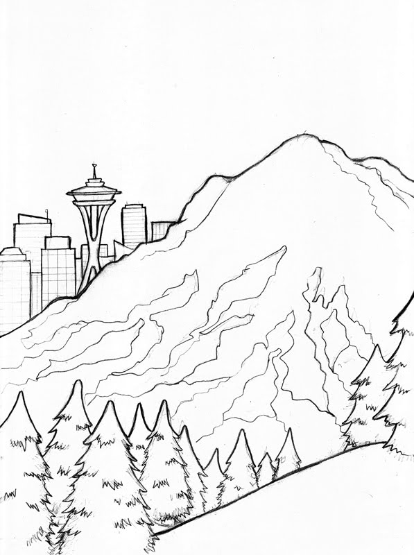 Seattle Space Needle Drawing Sketch Coloring Page