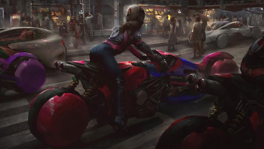 Cyberpunk, Biker, Motorcycle, Sci-Fi, 4K, #126