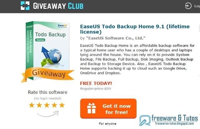 Offre promotionnelle : EaseUS Todo Backup Home 9.1 gratuit quelques heures !