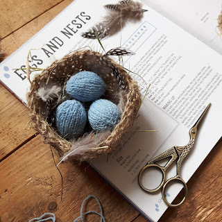Knitted eggs and nest by Nicky Fijalkowska