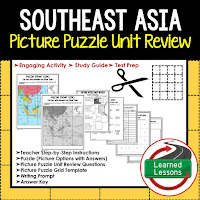 Southeast Asia, World Geography Picture Puzzle BUNDLE, Test Prep, Unit Review, Study Guide
