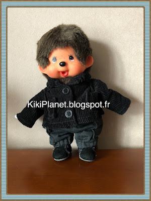 Veste en velours faite main pour Kiki ou Monchhichi, handmade, couture, vêtement, manteau