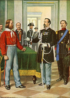 A meeting between La Marmora (right) and Garibaldi, as depicted by an Italian magazine