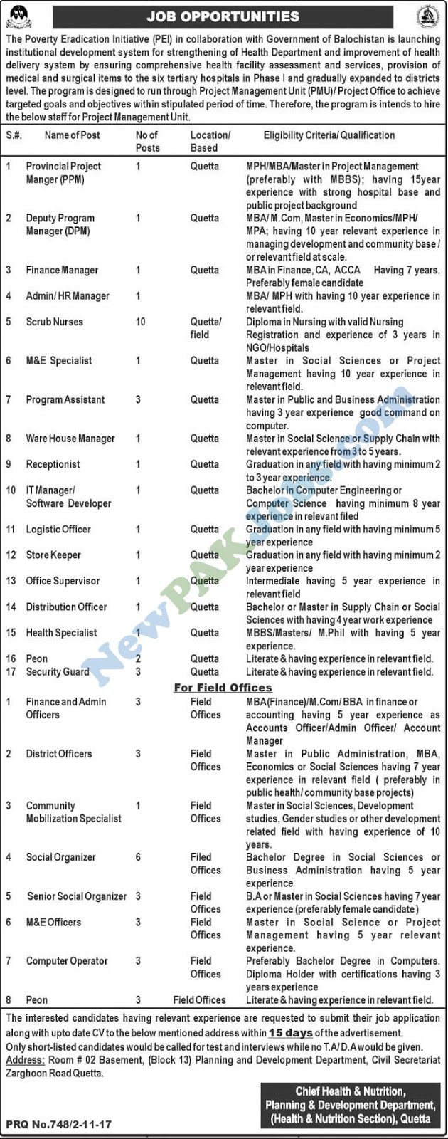 Government Jobs in Planning and Development Department