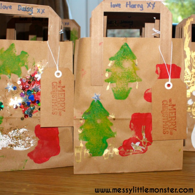 Homemade Christmas gift bags and gift wrap.  A fun DIY kids wrapping paper craft that is easy enough for toddlers and preschoolers.