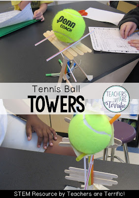 STEM Challenge is to build a tower that features holding a tennis ball aloft! Total fun!