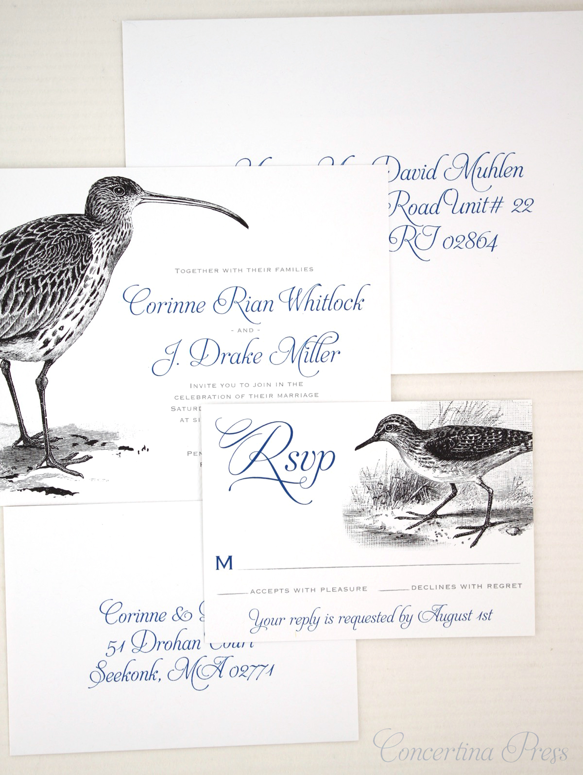 Curlew and Sandpiper Wedding Invitations for Lovebirds who LOVE birds - with addressing - from Concertina Press