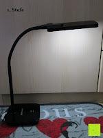 1. Stufe: DBPOWER® Oberfl chenlichtquelle, Dimmbar, Augenschutz, LED-Schreibtischlampe (6W, 800LUX, 3-Level-Dimmer, Flexible Arm, schwarz)