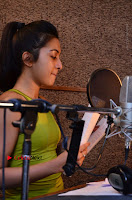 Actress Catherine Tresa Pos during Self Dubbing for Gautham Nanda Movie  0062.JPG