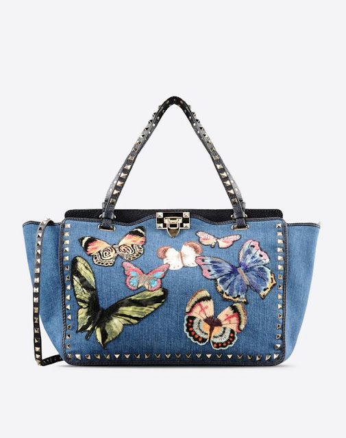 Valentino's Denim Embroidered Butterfly Rockstud