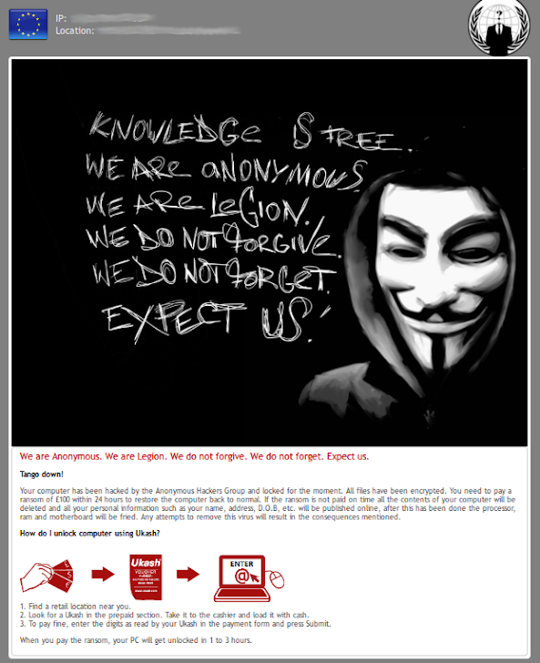 Anonymous ransomware spotted in the wild, campaign to Infamous Activists group