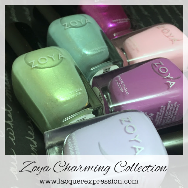 swatches from the Zoya Charming Spring 2017 nail polish collection