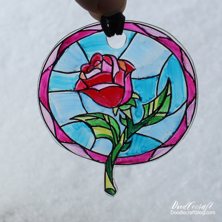 Doodlecraft Beauty And The Beast Enchanted Rose Suncatcher