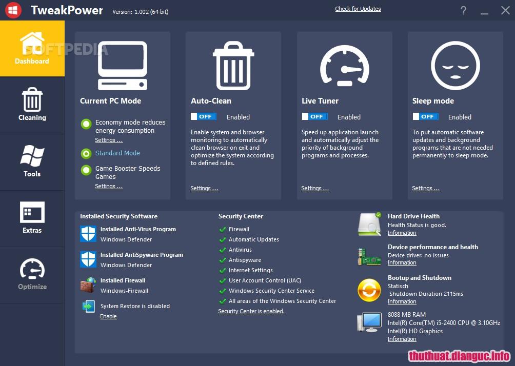 Download TweakPower 1.021 – Phần mềm dọn dẹp và bảo trì hệ thống miễn phí