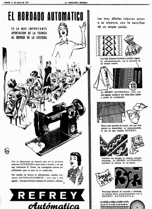 Refrey, propaganda año 1957, maquina de coser automatica
