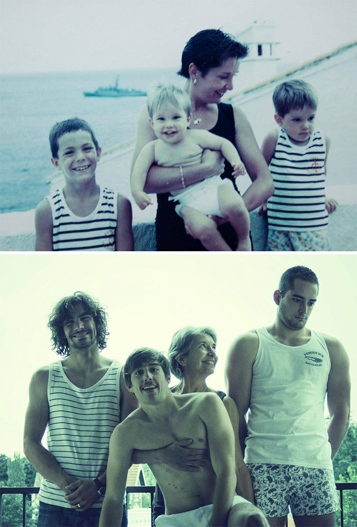 30 Beautiful Recreations Of Childhood Pictures - For Our Father's Birthday, We Tried To Take The Same Picture 20 Years Later. We Grew Up A Bit