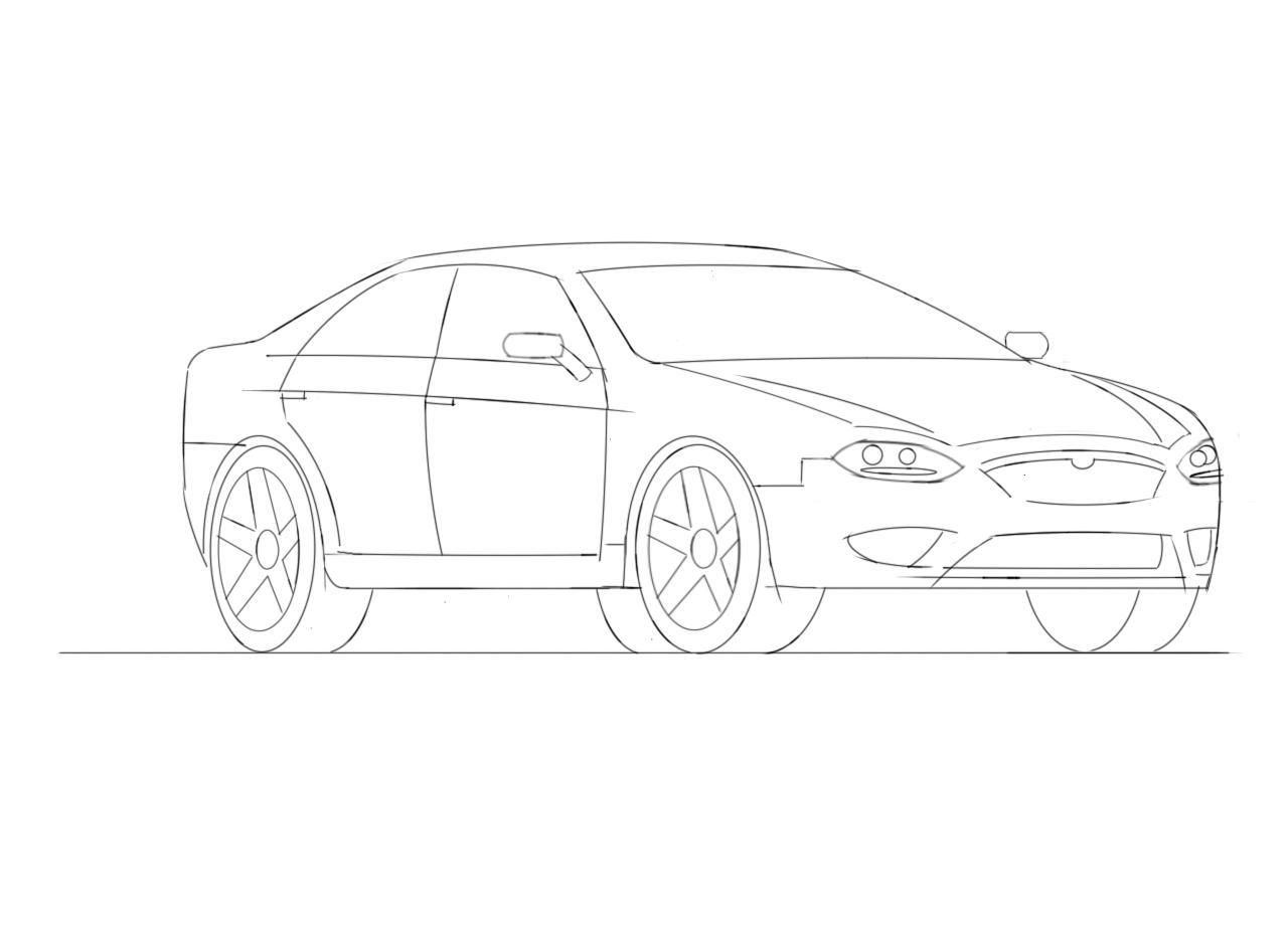 4 Door Car Drawing