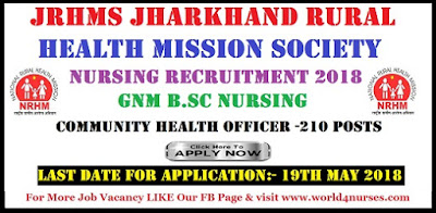 JRHMS Nursing Recruitment 2018 for GNM B.Sc Nursing