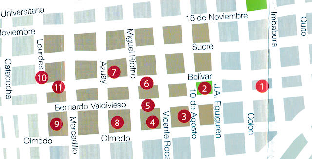 Map of Loja Ecuador city center showing walking tour destinations