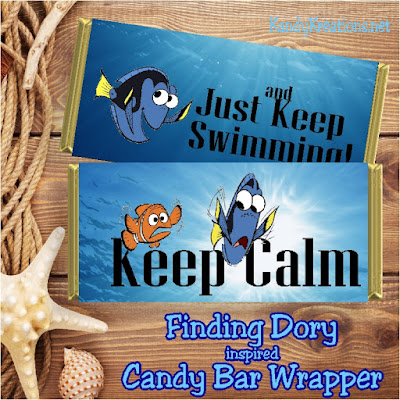Keep calm and Just Keep Swimming!  What a fun candy bar wrapper for a Finding Nemo or Finding Dory party.  Or wouldn't the kids just love it when we go to see the movie? This free printable is quick, easy, and super, super cute.