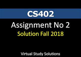CS402 Assignment No 2 Solution Fall 2018