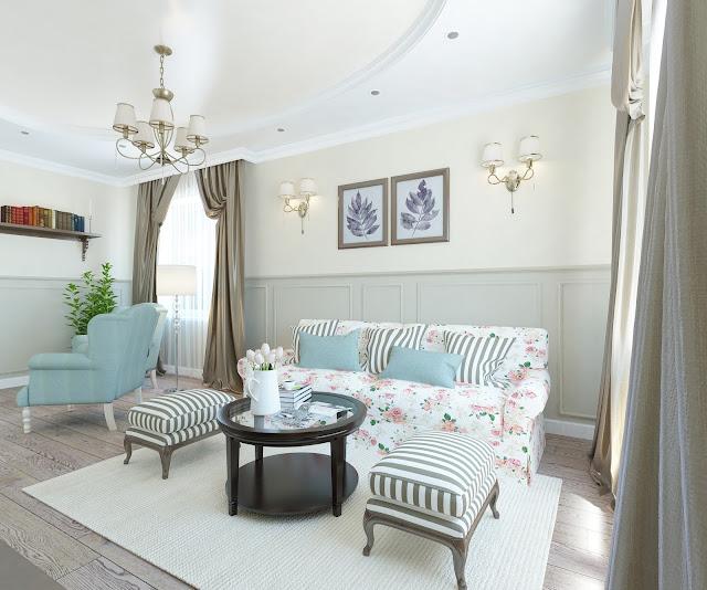 гостиная и кухня столовая в классическом стиле с нотками прованса