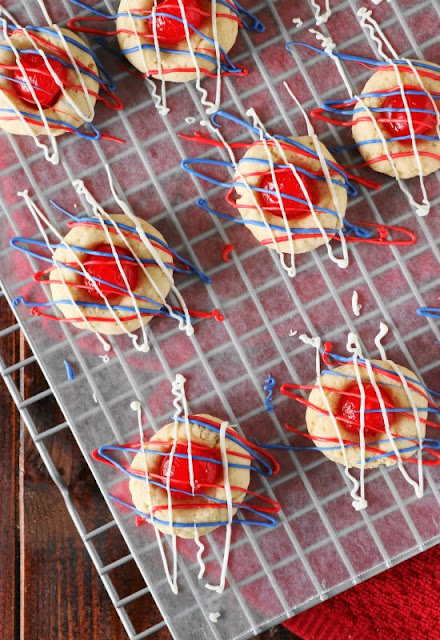 Drizzling cookies with fun 4th of July red, white, & blue.