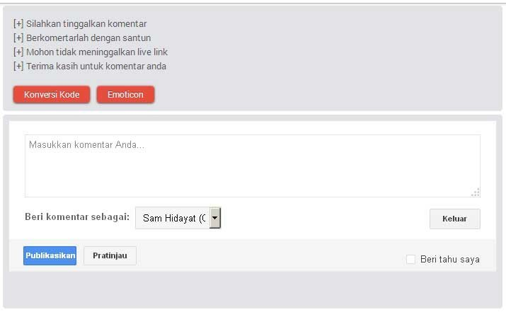 Tombol Konversi Emoticon di Form Threaded Comments