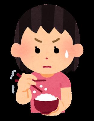 箸でご飯を食べるのが下手な人のイラスト(女の子)