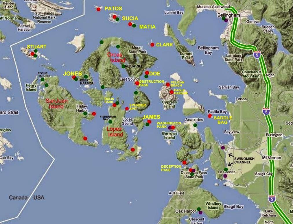 Map of San Juan area parks, docks, trailer boat launch ramps